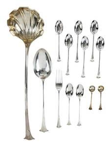 13 English Silver Onslow Flatware