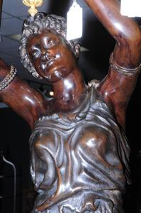 Pair Monumental Louis XV Style Figural Torchères