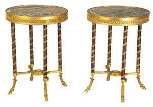 Fine Pair Directoire Style Gilt Bronze Guéridons