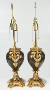 Pair Neoclassical Style Gilt Bronze Lamps