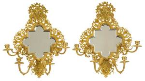 Pair Neoclassical Style Gilt Bronze Wall Sconces