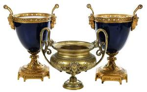 Three Neoclassical Two Handled  Urns