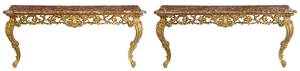 Pair Louis XV Style Marble-Top Consoles