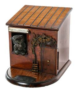 Comical French Rosewood Figural Cigar Box