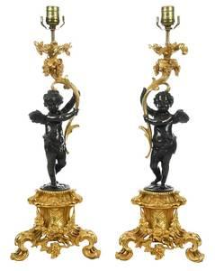 Pair Louis XV Style Parcel-Gilt Bronze Lamps