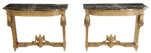 Pair Louis XVI Style Gilt Wood Consoles