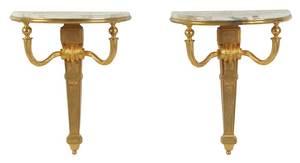 Pair Diminutive Louis XVI Style Consoles