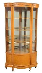 Neoclassical Carved Oak Curved Corner Cupboard