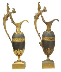 Pair Directoire Ormolu, Patinated Bronze Ewers