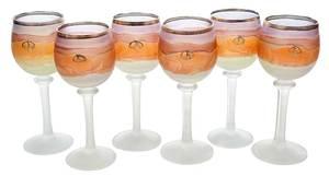 Six Art Nouveau Frosted Wine Goblets