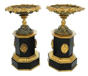 Pair Gilt Bronze and Marble Tazzas