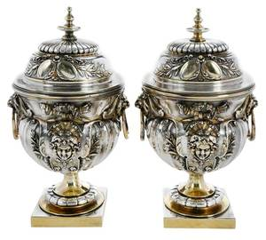 Pair of Leopold Oudry Silver-Plate Covered Urns