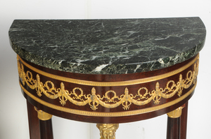 Pair Empire Style Marble-Top Console Tables