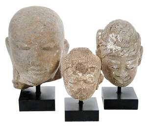 Three Early Stone Buddha Head Fragments, Stands