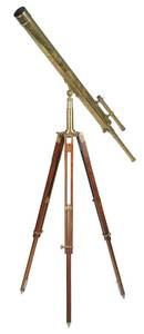 Large Vintage Brass Telescope on Stand
