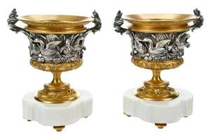 Pair Gilt, Silvered Louis Philippe Style Urns