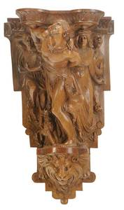 Italian Carved Walnut Figural Bracket
