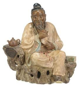 Shiwan Pottery Figure of Lu Yu