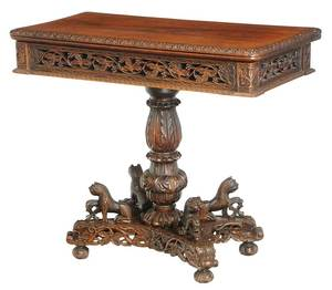 Anglo-Indian Carved Rosewood Games Table