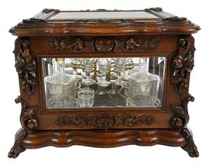 Carved Walnut and Beveled Glass Tantalus