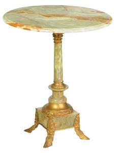 Louis XVI Style Onyx, Gilt Bronze Pedestal Table