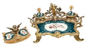 Louis XVI Style Gilt Bronze, Porcelain Desk Set
