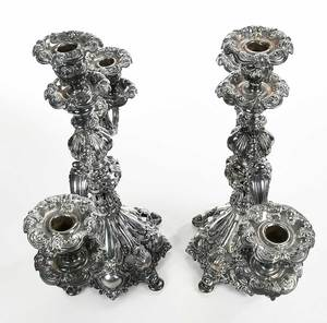 Pair Reed and Barton Silver-Plate Candelabra