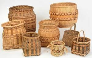 Eight Various Split Oak Baskets, Cherokee