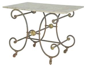 Vintage Wrought Iron Marble-Top Baker's Table