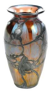 Silver Overlay Iridescent Glass Vase
