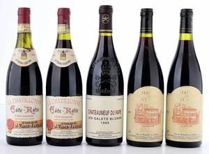 Five Vintage Bottles Rhône, Châteauneuf-du-Pape