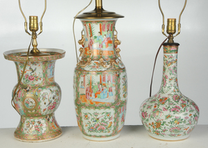 Three Chinese Famille Rose Porcelain Vases