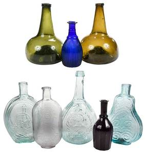 Eight Early Glass Bottles