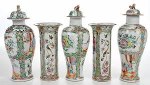 Five Piece Rose Mandarin Garniture Set