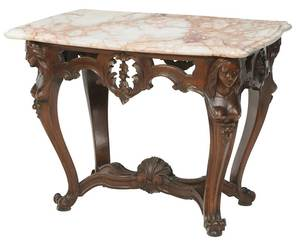 Italian Carved Walnut Marble-Top Center Table