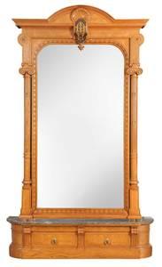 Monumental Aesthetic Movement Inlaid Pier Mirror
