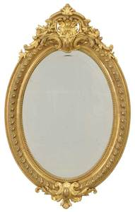 Oval Gilt Mirror with Cartouche Decoration
