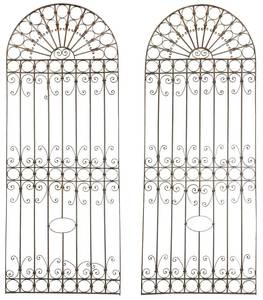 Large Pair Wrought Iron Architectural Panels
