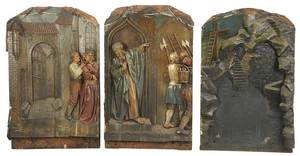 Three Carved Polychrome Decorated Panels