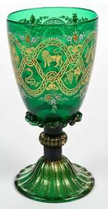 Venetian Enamel Decorated Wine Goblet