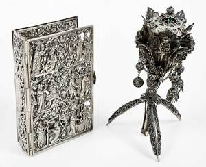 German Silver Book Cover and Filigre Censer