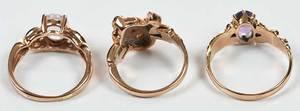 Three Rose Gold Gemstone Rings