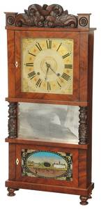 Carved Mahogany Labeled Triple Decker Clock