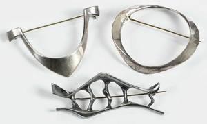 Three Sterling Norwegian Brooches