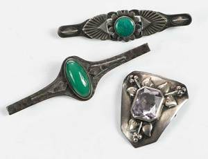 Three Sterling Brooches