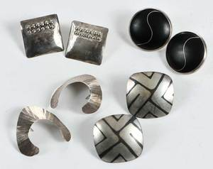 Four Pairs Silver Earrings