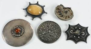 Five Sterling Brooches
