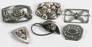 Six Jensen style brooches