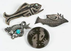 Four Taxco Brooches