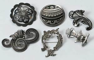 Six Taxco Brooches